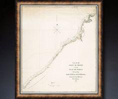 Rare vintage map of Dubai UAE 1822  up to 21x24 by RoyalArtPrints