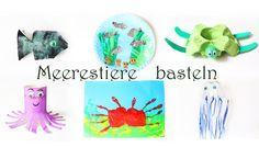Meerestiere basteln aus müll pappteller klopapierrollen eierkarton basteln fisch krake schildkröte krabbe qualle