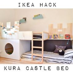 From a simple Kura to a castle bunk bed with a play nook adding some plywood and a plywood platform for the second bed. Hack a KURA castle bunk bed.