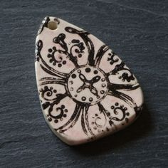 Ceramic Pendant Pink and White with Graphic by WinchellClayWorks, $12.00