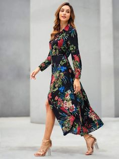 Boho Floral Slit Collar Long Sleeve High Waist Multicolor Maxi Length Button Through Split Floral Shirt Dress Summer Dresses For Teens, Summer Dresses For Wedding Guest, Trendy Dresses, Nice Dresses, Wedding Dress, Dress Outfits, Fashion Dresses, Floral Fashion, Dress Clothes