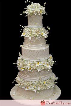 Floral and Damask Wedding Cake   http://blog.pinkcakebox.com/floral-damask-wedding-cake-2011-12-04.htm