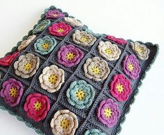 """Home & Garden 61"""" X 43"""" Granny Square Flower Afghan Crochet Black Multicolor Blanket Throw Aromatic Character And Agreeable Taste"""