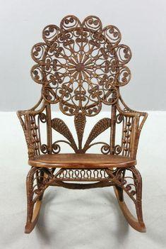 Ornate Victorian Wicker Rocking Chair circa 1890-1910.