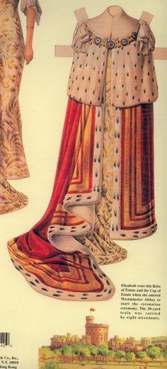 Coronación muñeca de papel - SM la Reina Isabel II