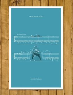 Main Theme from Jaws by John Williams - Movie Classics Poster - Soundtrack Print - Sheet Music Art - Shark Gift (Various Sizes) by headfuzzbygrimboid on Etsy Print Sheet Music, Sheet Music Art, Shark In The Ocean, Shark Gifts, Jaws Movie, What Is Digital, Movie Themes, Main Theme, Music Labels