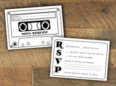 Cassette Tape Song Request Wedding RSVP Card - Printable / Digital file on Etsy, $10.00