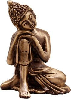 Buy Two Moustaches Brass Buddha Resting Showpiece Online at Low Prices in India - Amazon.in