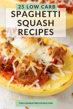 These are the best low carb, Keto Spaghetti Squash Recipes! Easy to make with healthy ingredients-you'll love these recipes for side dishes, chicken + more! Everything from casseroles to stir frys, soups and more. There are recipes for beef, chicken, turkey and even vegetarian options! Side Dish Recipes, Lunch Recipes, Healthy Dinner Recipes, Beef Recipes, Side Dishes, Low Carb Spaghetti Squash Recipe, Cooking Spaghetti, Easy Clean Eating Recipes, Clean Eating Diet