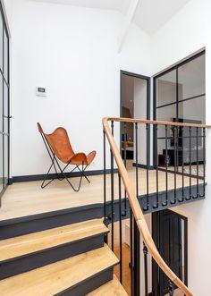 Maison en volume by Santillane Design on Interior Stair Railing, Staircase Design, Hallway Inspiration, Furniture Inspiration, Harewood House, Hall Furniture, House Stairs, Minimalist Interior, Apartment Living