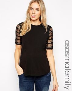 Enlarge ASOS Maternity Exclusive Top With Sheer And Solid Check Detail