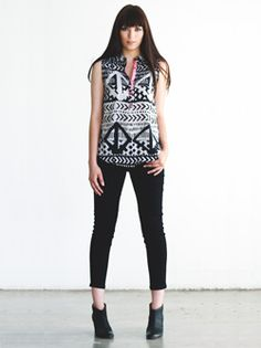 sleeveless blouse with contrast & ankle length pant #eightsixty #spring13