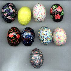 Hen eggs covered with polymer clay