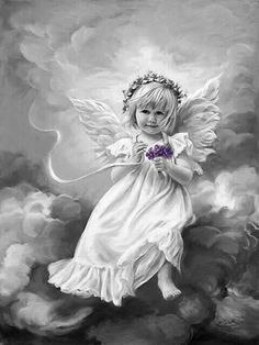 Sandra Kuck - February Violet - NEW! - Angel Print Sandra Kuck Prints 16 x 12 paper print of an angelic young girl in the clouds with a bouquet of I Believe In Angels, Angel Pictures, Angels Among Us, Angels In Heaven, Heavenly Angels, Guardian Angels, Angel Art, Illustrations, Ikon