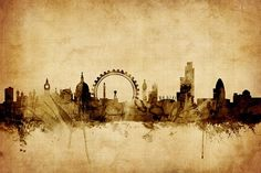 London Print featuring the digital art London England Skyline by Michael Tompsett