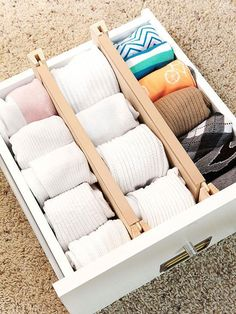 Keep Drawers Tidy Drawer dividers help keep drawers in tip-top shape, separating items such as socks and underwear. Sock Organization, Dresser Organization, Small Closet Organization, Dresser Storage, Organizing Ideas, Kitchen Organization, Bedroom Closet Storage, Ikea Closet, Master Bedroom Closet