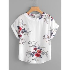 Material: Polyester Color: White Pattern Type: Floral Collar: Round Neck Style: Casual Type: Tunic Decoration: Button Sleeve Length: Short Sleeve Fabric: Fabric has no stretch Season: Summer Bust(Cm): Length(Cm): Sleeve Length(Cm): Blouse Patterns, Blouse Designs, Sewing Blouses, Schneider, Short Tops, Blouse Styles, Chiffon Tops, Shirt Blouses, Blouses For Women