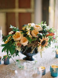 #sunflower, #garden-rose, #centerpiece  Photography: Jose Villa - josevillaphoto.com Event Design: Moon Canyon Design - mooncanyondesign.com/  Read More: http://www.stylemepretty.com/2013/05/23/vermont-wedding-from-jose-villa/