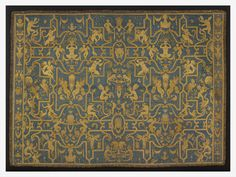 Bed head | V&A  A bed-head or tester filled the space between the head-board of a bed and the roof. This specimen is thought to be the only known example of a complete and unaltered tester for a 16th century bed. It has a pattern in yellow satin, cut to shape and applied to the blue satin ground.  France  1550-1570