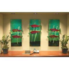 Sockeye Salmon Wall Panel Triptych custom made by Mark Ditzler Glass Studio, Llc