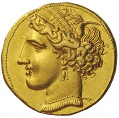 Gold Coin from Carthage This beautiful trihemistater was stuck circa 260 BC. It has the image of Persephone-Tanit wearing a barley wreath, a bar and triple pendant earring and a necklace with pendants. The reverse shows a horse with it's head turned back. Silver Investing, Buy Gold And Silver, Carthage, Greek Art, Number Two, Gold Art, Ancient Artifacts, Ancient Greece, Gold Coins