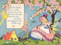 Vintage Nursery Rhyme Print Little Miss Muffet & Fairies...