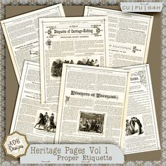 #DOTD Heritage Pages Vol 1 {Proper Etiquette} by #ADBDesigns These wonderful pages are from a vintage book about business and social norms [original copyright 1873, this edition copyright 1884 and published in 1885.]