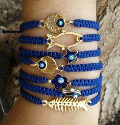 Items similar to gold fishbone/fish/flower/evil eye/star/ macrame bracelet on Etsy Bracelet Crafts, Macrame Bracelets, Jewelry Crafts, Hemp Jewelry, Macrame Jewelry, Handmade Jewelry, Marine Style, Beaded Anklets, Evil Eye Bracelet