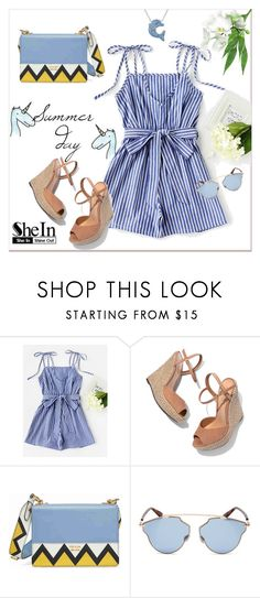 """""""Vertical Striped Self Tie Shoulder Belt Romper"""" by pavicmartina ❤ liked on Polyvore featuring Schutz, Prada and Christian Dior"""