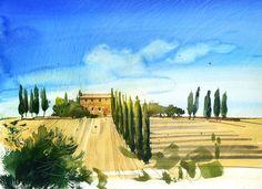Watercolor Scenery, Watercolor Landscape, Landscape Art, Watercolor Paintings, Watercolors, Tuscany Landscape, Farm Paintings, Balance Art, Watercolor Projects