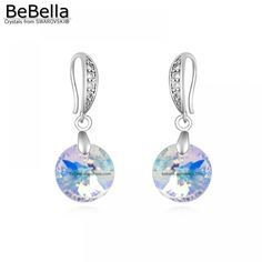 1bea3bb04457 BeBella crystal round pendant earrings made with crystals from Swarovski  for Mother s Day gift