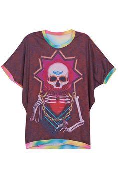 "Rainbow-colored ""Rich Skull"" T-shirt  #fashion #clothing"