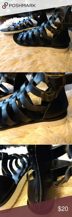 Mossimo Gladiator Sandals Cute black leather with white rubber soles. They zip up the back & you can change tightness by the buckle on side of shoe.  Worn only twice before foot broken.  Now only wear safe, comfortable, cute, walking shoes.  Perfect condition.???????????????? Mossimo Shoes Flats & Loafers