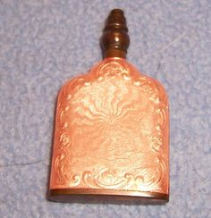 Wonderful for Valentines Day. Antique Cologne perfume bottle MINI... tiny little purse size... copper