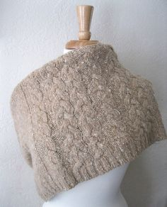 Sustainable Fashion Cabled Wool Poncho Cowl  Tan by SewEcological, $26.00