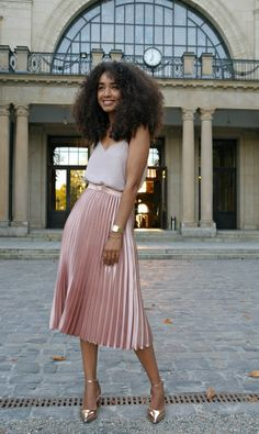Outfit: Metallic Pleated Midi Skirt and Cami Top with Metallic Mid Block Heels