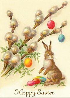 Easter card with pussy willow (or easter egg tree) Easter Art, Hoppy Easter, Easter Crafts, Easter Bunny, Easter Eggs, Vintage Greeting Cards, Vintage Postcards, Images Vintage, Vintage Artwork