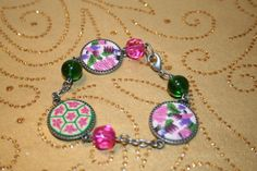 Cloth covered Flowered beaded bracelet by SageBeauties on Etsy, $12.00