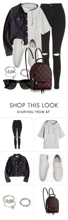 """Untitled #11983"" by vany-alvarado ❤ liked on Polyvore featuring Topshop, SJYP, Versace, Forever 21 and Ray-Ban"