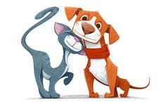 Cartoon Cat and Dog - Vector Illustration Cartoon Cartoon, Bulldog Cartoon, Logo Gato, Dog Illustration, Illustrations, Cat Vector, Cute Monsters, Creature Design, Dog Art