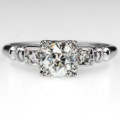 Antique 1930's Orange Blossom Engagement Ring in 18K White Gold 1930's