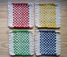 Red and White Pattern Woven Cotton Loop Loom Potholder