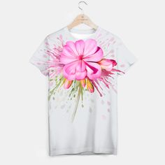 Pink watercolor flower with color splash.  A unisex cut full print custom t-shirt made of best quality materials. An excellent gift and a perfect outfit. A t-shirt like no other is within the reach of your fingertips, all you need to do is grab it!All over printed tee with galaxy, marijuana, emoji, nebula - choose your favourite! All items can be returned within 14 days unless used. No questions asked.Estimated shipping time - 14 working days.