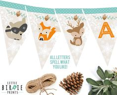 WINTER WOODLAND DECORATIONS Baby Shower Or by littlebirdieprints