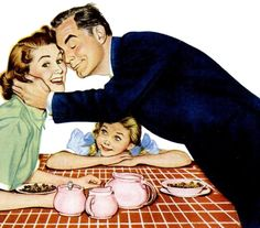 Somehow this feels so fake! Vintage Love, Vintage Images, Vintage Posters, Retro Vintage, Vintage Sewing, Vintage Housewife, Cute Family, Happy Family, Happy Pictures