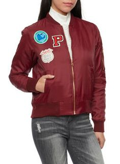 Padded Bomber Jacket with Patches - 1414069392435