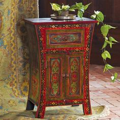 Hand Painted Side Table Hand Crafted In India