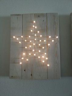 DIY Pallet hout met lichtjes