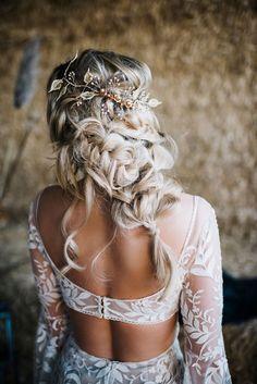 Wedding Hairstyles For Long Hair, Wedding Hair And Makeup, Wedding Hair Accessories, Braided Bridal Hairstyles, Hairstyles For Bridesmaids, Hairstyles For Weddings, Boho Hairstyles For Long Hair, Country Wedding Hairstyles, Bride Hairstyles For Long Hair