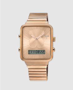 f0935cc5d9b5 Reloj de mujer Tous I-Bear multifunción híbrido de acero oro rosa Reloj  Cuadrado